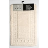 Catherine Lansfield Cream Bath & Pedestal Mat Twin Pack