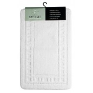 Catherine Lansfield White Bath & Pedestal Mat Twin Pack