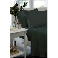 Black Non Iron Plain Dyed Percale Fitted Sheet