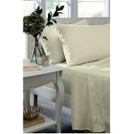 Cream Non Iron Plain Dyed Percale Flat Sheet
