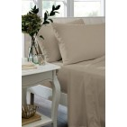 Natural Non Iron Plain Dyed Percale Fitted Sheet