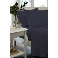 Navy Non Iron Plain Dyed Percale Fitted Sheet