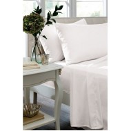 Dorma White Non Iron Poly Cotton Fitted Sheet